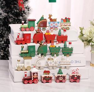 5 enfants en bois de Noël Couleur train cadeau Joyeux Noël Décoration pour la maison Petit Train populaire Décorations de Noël Ornements 4 Nœuds train