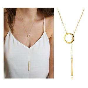 Ожерелья кулон Минималистский простой круг бар Лариат ожерелье изящному длинной цепочке Y Форма палочка женские редукторы