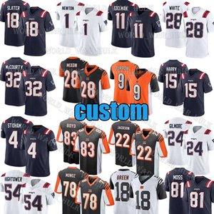 9 Joe Burrow Jerseys 1 Cam Newton personalizado New CincinnatiBengalaInglaterraPatriot Julian Edelman Joe Mixon Stephon Gilmore Slater