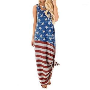 Maxi Crew Abiti collo senza maniche Abiti casual The American Flag Stampa Fashion Dress Stampa con pannelli donne
