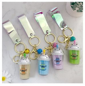 Cute Cartoon Cat Cup Keychains Simulation Mini Milk Cup Moving Liquid Keyring for Women Car Bag Pendant Children Gifts Toys
