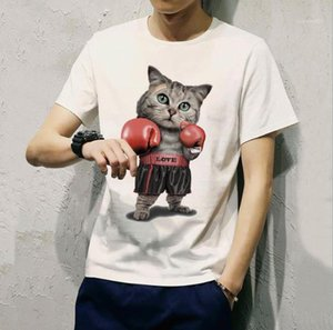 Neck Top Fashion Male Clothes 3D Cat Print Casual Mens Designer T-Shirt Summer Short Sleeve Round