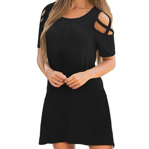 Explosive women's knit dress sexy off-shoulder dress hot spring and summer new short sleeve dress