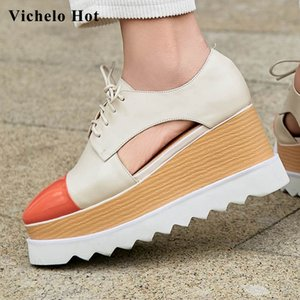 Vichelo Hot elegant lady mixed colors genuine leather square toe thick bottom wedges high street fashion shoes women pumps L57