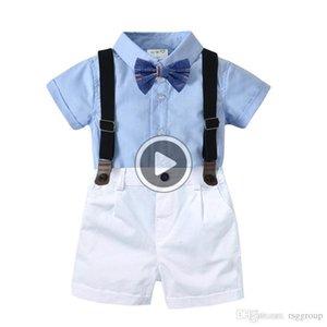 Casl Sommer-Kind-Jungen Casl Kleidung Anzüge Blank Shirts + Bow Tie + Belt + Pants 4pies Set Kinder Jungen Dener Kleidung für 1-6T