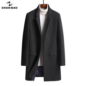 SHAN BAO Mode Revers hohe Qualität bequem dicke Wolle langer Mantel 2020 Herbst Winter Markenkleidung Männer dünner beiläufiger Mantel