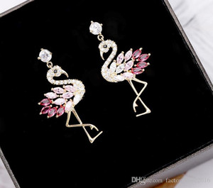 High Quality Luxury Designer 925 Silver Earrings Cute Flamingo Earrings Jewelry with Pink Purple Crystal for Women