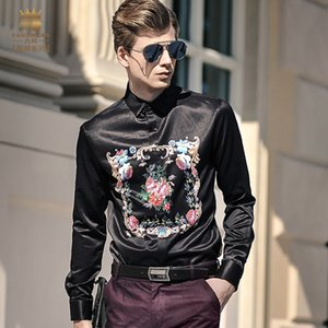 FanZhuan Free Shipping New men's fashion 2020 casual male long sleeved personality European and American printing shirt 712039