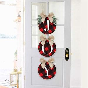 34CM Natal da grinalda Vermelho e preto da grade letras impressas Moda Árvore de Natal Escadas porta janela Ornamentos Partido Acessórios GWF1805