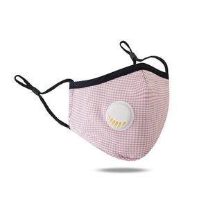 Nuova maschera progettista faccia adulti valvola di respirazione unisex lavabile adatto Anti smog colore solido reticolo mascherare cotone Protezione PM2.5 Sun