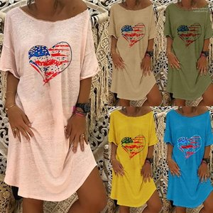 Womens Summer Print Tshirt Dress Short Sleeve Crew Neck Fashion Loose Clothes Famale Designer Dress