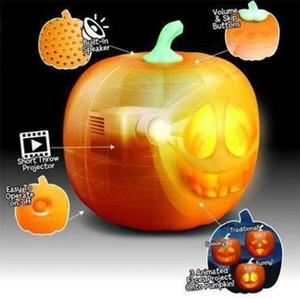 Halloween Flash Halloween Talking Animated Pumpkin with Built-in Projector Speaker 3-in-1 LED Pumpkin Projection Lamp Halloween Fun GWC2262