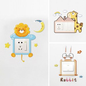 Socket Decorative Light Switch Stickers Wall Stickers Biswitch Protective Case 3d 3d Home Creative Modern Simple Three-Open