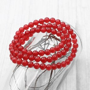 """Multilayer 6mm Round Beads Strand Bracelet Natural Stone Jades Red Crystal Elastic Rope Bracelets Bangle Gift Jewelry 21"""" A976"""