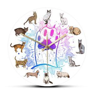 Hand Drawn Cat Breeds Wall Clock Cat Kitty Artwork Cartoon Kitten Home Decor Silent Quartz Hanging Wall Watch Lover Gift