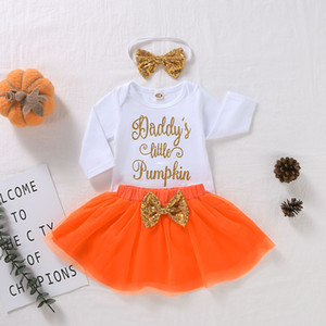 Halloween Baby outfits Baby Girls Bling Letter Printed Long Sleeve Romper+Orange Tulle Tutu Skirt+Sequins Bows Headband 3Pcs Sets A4291
