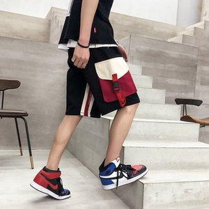 Popular Logo Sports Shorts Male Baggy Student Hip Hop Stitching Big Pocket Overalls Quick Work Casual