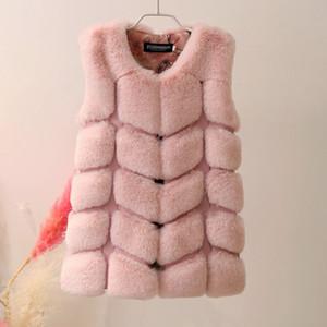 Lagabogy ребёнки меховых курток пальто дети способ искусственного мех жилет зима Поддельная шерсть кролик девушки Верхняя одежда TZ302