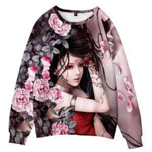 New Fashion 3D Tattoo Beauty Anime Sweatshirt Pullovers Women Harajuku Hip-Hop Retro Style Streetwear Casual 3D Hoody Sweatshirt
