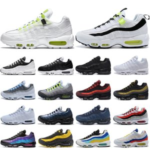 Nike air max 95 airmax shoes ingrosso Uomini Womens Triple Bianco Nero Running Shoes mens di lusso Solar Red Neon Yellow Grape Sport Outdoor Jogging Trainer Sneaker Scarpe