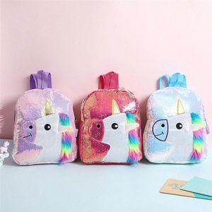 Color de rosa brillante con lentejuelas morral de la felpa del unicornio Diseño taleguilla Bookbag adorable linda de la manera niños del viaje del bolso de escuela para el estudiante uoBt Niño #