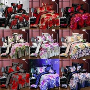 Ensembles de literie 3D Set Couette Couverture Coussin d'oreiller Fleur Rose Lily Floral Floral 3PCS / Set