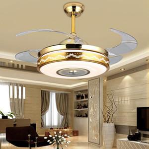 IKVVT невидимый вентилятор лампы с Bluetooth аудио ресторан LED электрический вентилятор лампа современный минималистский гостиной пульт дистанционного управления