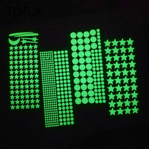 Tofok DIY Luminous Star Dots Bedroom Baby Kids Room Decal Glow at Night Fluorescent Dreamlike Home Decoration Free Combination