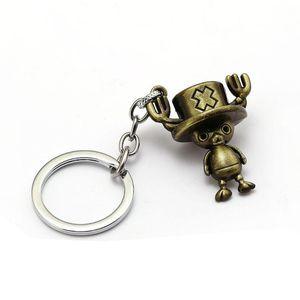 Animado de una pieza Llavero modelo de la figura de Tony Chopper anillo sostenedor de la llave del coche de metal de moda bolsa Chaveiro clave joyería de cadena pendiente
