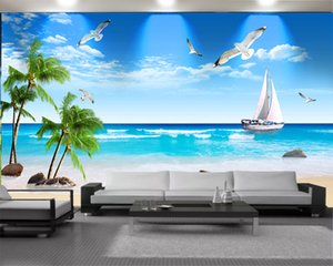 Custom 3d Seascape Wallpaper Living 3d Wallpaper White Sailing Ship Seagull Beautiful Seascape Romantic Landscape 3d Mural Wallpaper
