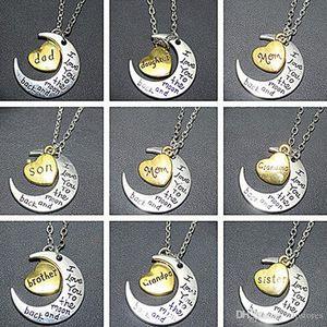 Смешанный заказ луна сердце кулон ожерелье I Love You To Луны и обратно Подвески Ожерелья Папа Мама Брат Сестра подарки очарование ожерелье