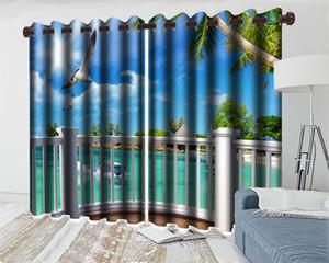 Commercio all'ingrosso 3d tenda della finestra balcone bianco con bella vista mare Soggiorno Camera da letto Cucina Finestra Blackout Curtain