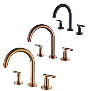MaBlack Brass Basin Tap Rose Gold Bathroom Bathtub 3PC Set Faucet Deck Mount Hot Cold Mixer Double handle 3 hole split faucet