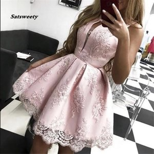 Vestidos Pink Homecoming Dress 2021 A-Line Jewel Neck Sleeveless Lace Appliques Above Knee Homecoming Dresses Graduation Gowns