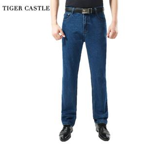 TIGER CASTLE Männer aus gewaschenem Denim Jeans beiläufige gerade Denim Overalls für Männer Marke Male klassische Jeans-Hosen Geschäft Hose