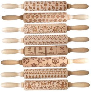 Biscuit Embossing Decorations Rolling Pin Cookies Merry Christmas Fondant Cake Dough Engraved Roller Elk Wooden Baking Moulds GGA3680 M57F