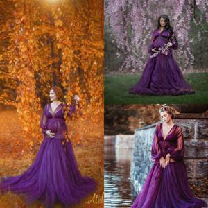 Women's Robe V Neck Long Sleeves Kimono Pregnant Party Night Sleepwear Women Bathrobe Nightgown Prom Bridesmaid Shawel 2020 New