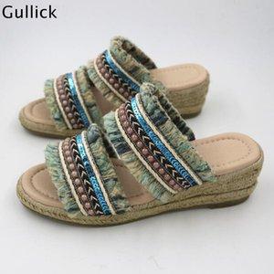 Тапочки по прибытии Богемский стиль вне плетеных каблуки женщина клин этническая шикарная пляжная одежда прохладный бисером скользкий