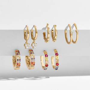 5Pairs Set Multicolour CZ Hoop Earrings for Women Gold Color Geometric Rainbow Zircon Small Earrings Set Wedding Jewelry Gifts