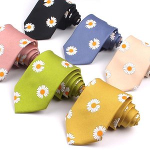 Floral Mens Ties For Men Women Printed Chiffon Necktie Slim Neck Tie Fashion Skinny Neckties For Wedding Daisy Pattern Neck tie
