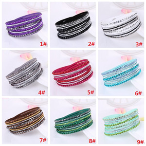 Multilayer Wrap Bracelet Big Crystals Flocking Leather Charm Bangles with Chains Wristband Women Christmas Gift 16 colors