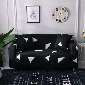 Oda Polyester Kanepe Koltuk Slipcover Kit Siyah Geometri Kabartma Stretch Koltuk Kapak Gri Çizgili Stretch Mobilya Kapaklar