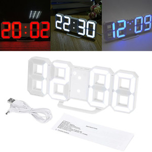 8 Shaped 3D Digital Table Clock Wall Clock LED Nightlight Time USB Home Decoration Livingroom Wall Clocks White Light