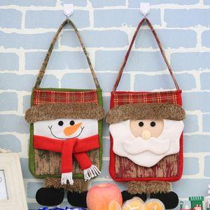 Christmas Candy Bag Children Gifts Handbag Xmas Gift Holder Bag Xmas Santa Snowman Pattern New Year Decor Christmas Ornaments