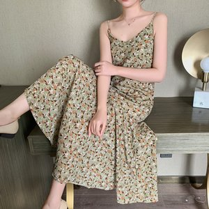 Floral suspender dress for women 2020 new summer dress fairy Super fairy Mori French chiffon dress slimming