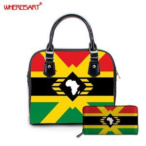 WHEREISART Frauen Beutel-Schulter-Handtaschen-Frauen Kuriertaschen Top-Griff Afro American Pan African UNIA Composite-Beutel-Geldbeutel Wallet