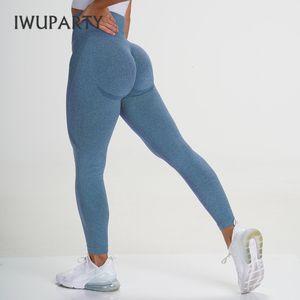 Butt Iwuparty Sport senza giunte Leggings vita alta Gym Fitness Donne elastico Booty Leggins pancia controllo Joga pantaloni elasticizzati