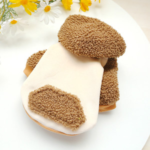 Newest Design Two Feet Khaka Color Warm Pet Clothes with Hat Dog Cat Clothing Lambskin Autumn and Winter Warm Hoodie Dog Clothes