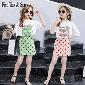 Summer girls 2 pcs set baby tee shirt + skirt kids suit children fashion clothes streewear letter print dot ins 4 to 14 yrs
