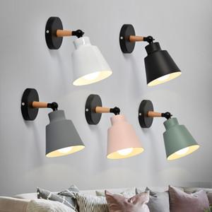 Nordic madera pared luces de la habitación Además de las luces LED macarrón moderna E27 Lámparas de pared LED Iluminación Restaurante Bar